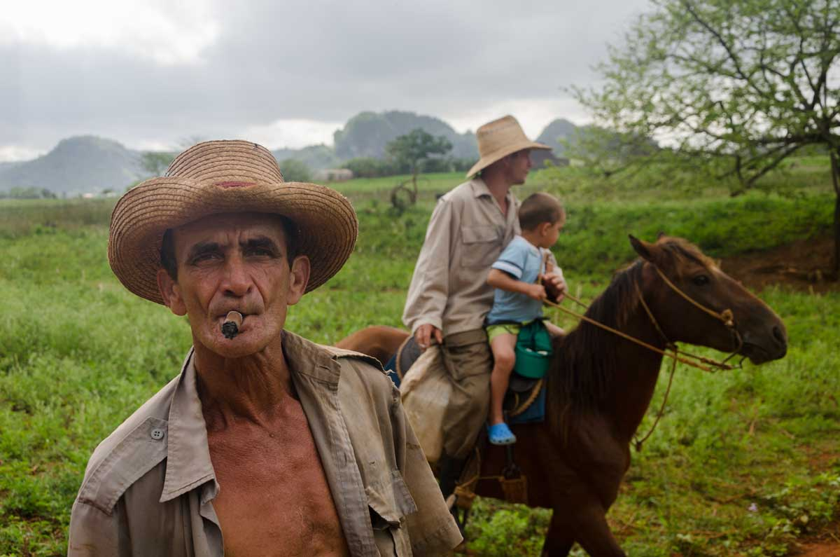 cuban farmer in vinales smoking a cuban tobacco, photo taken in my last photography tour to cuba