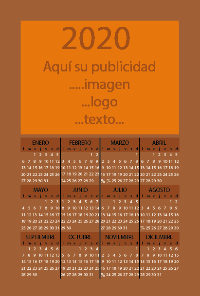 Calendario magnetico 2018
