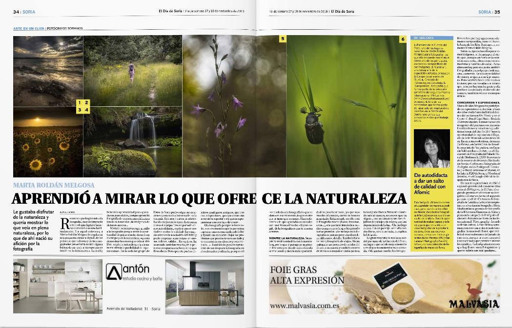 Entrevista en El Día de Soria, página 34
