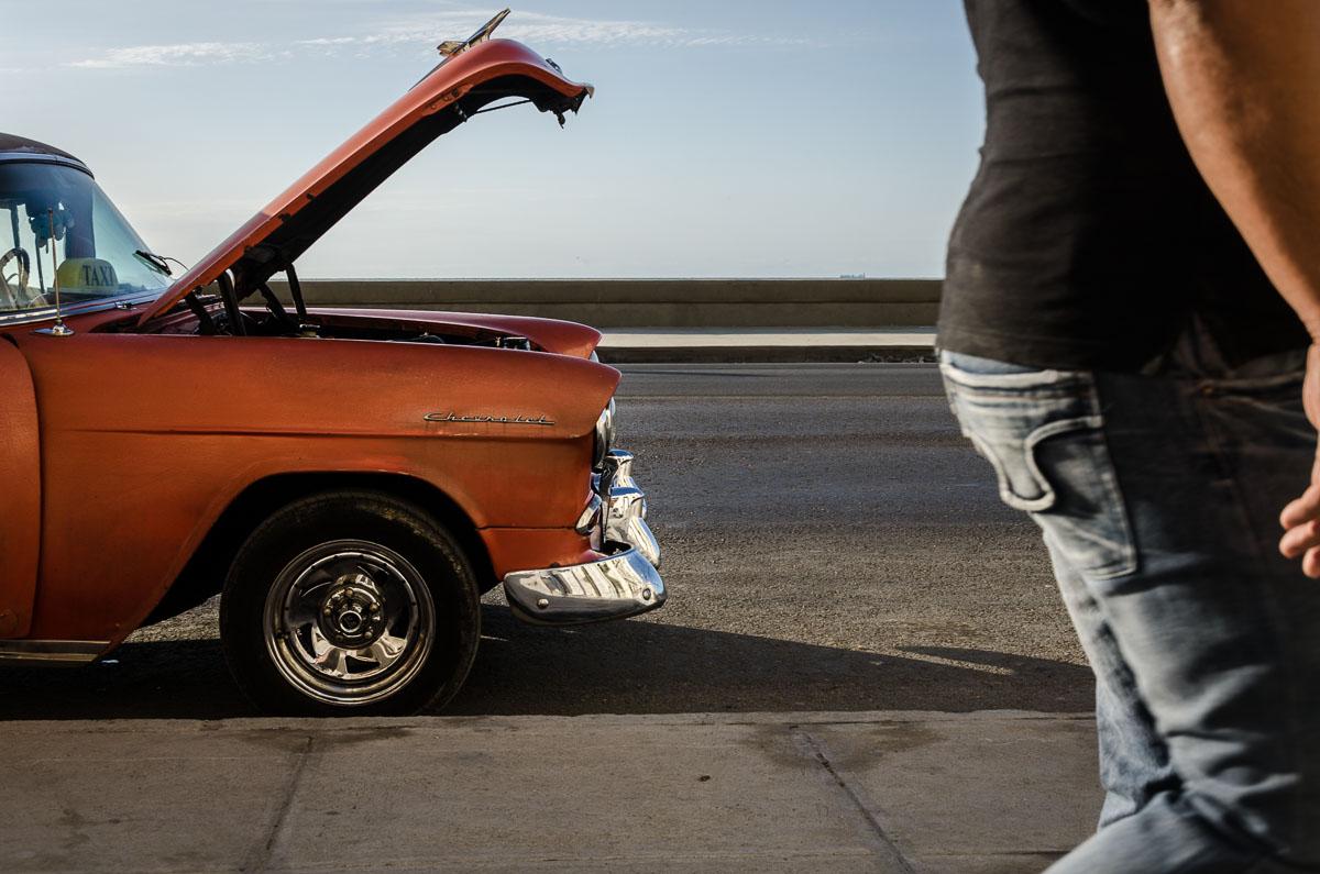 old american car in havana , street photography in cuba