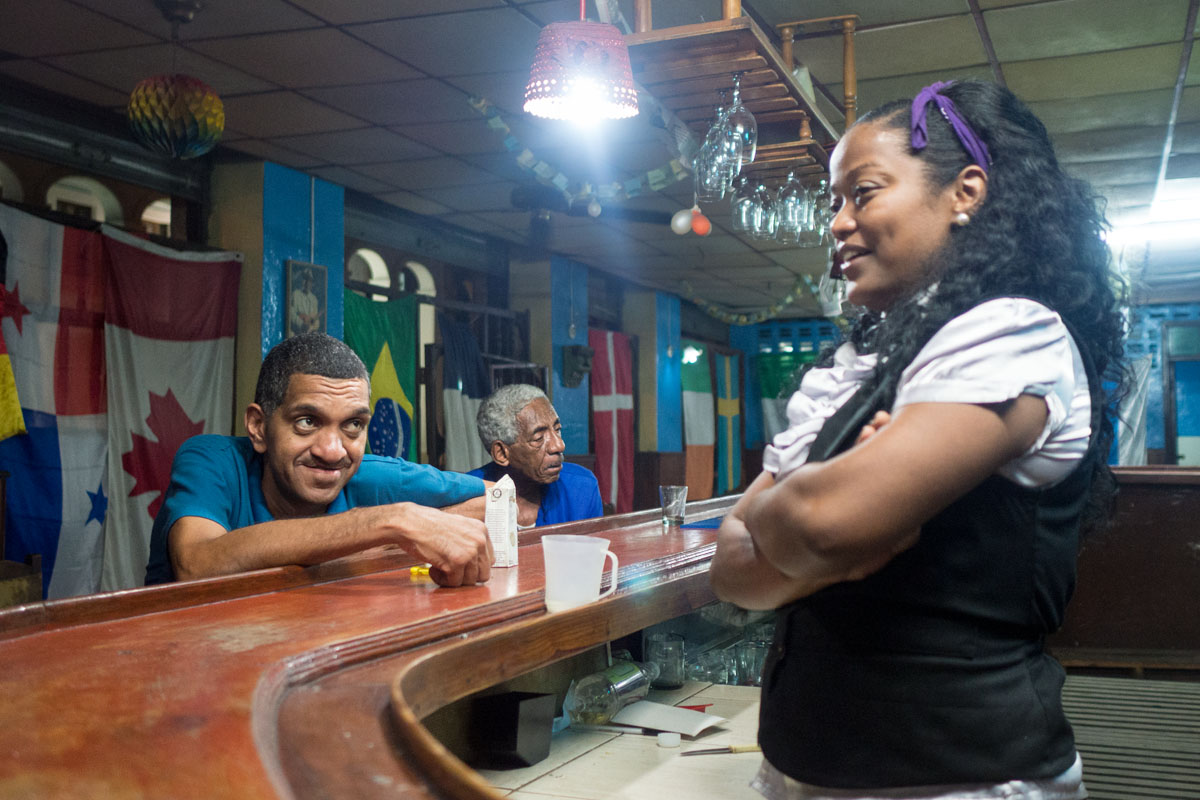 drunk cuban people in a bar , session of street photography