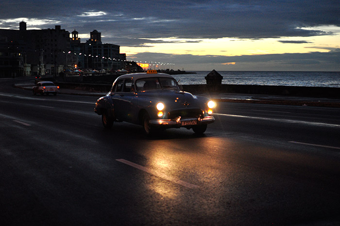 old car in havana streets in my night photography tour in cuba