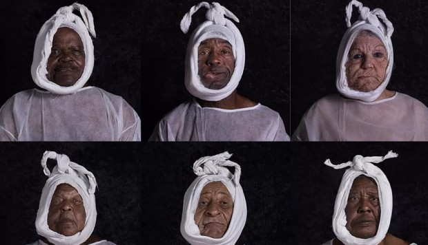 Black people with white clothes over the head, by Enrique Rottenberg