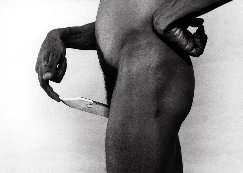 nude of a men with a knife by rene pena