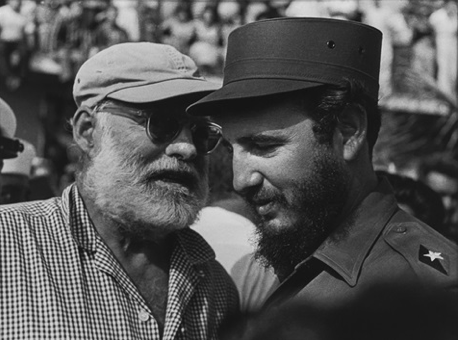 Fidel Castro and Ernest Heminguay, photo taken by  Corrales.