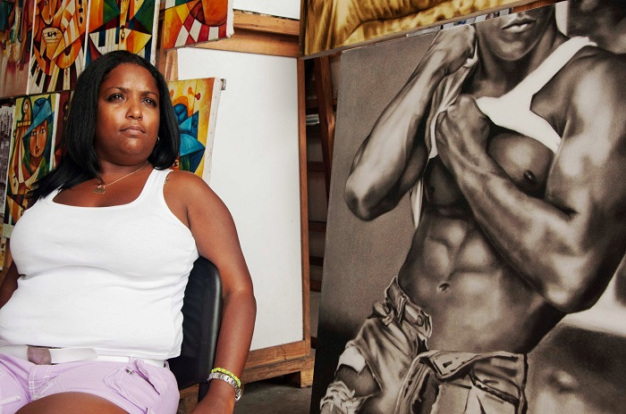 woman selling a picture of a nude black man