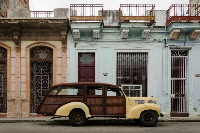 wooden made american car in havana streets