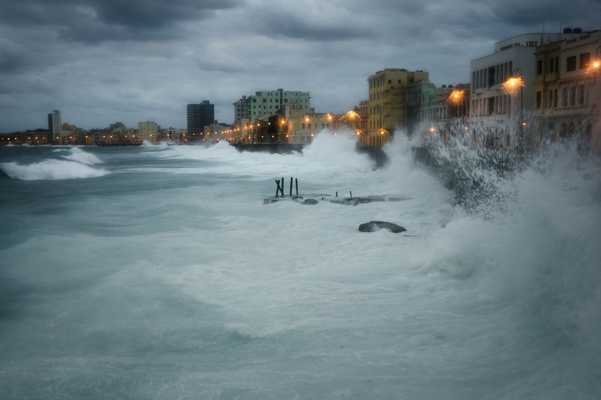 Malecon under a storm in havana, location to take grey pictures